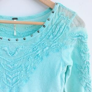 Free People Top with Embroidery - Size xs